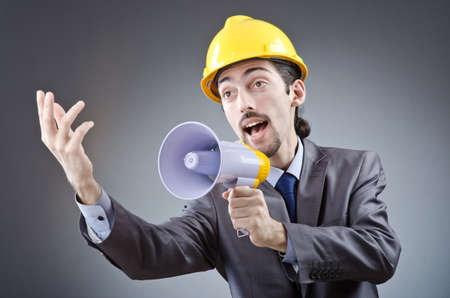 Man shouting and yelling with loudspeaker Stock Photo - 13643965
