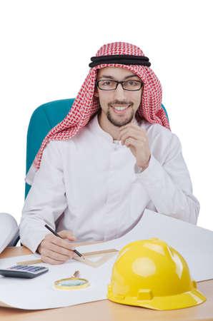 Young arab architect isolated on white Stock Photo - 13643914