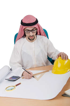 Young arab architect isolated on white Stock Photo - 13630593