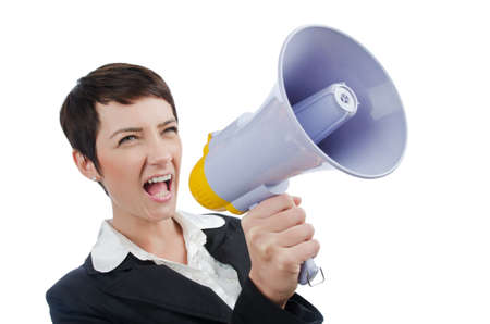 Young business lady screaming to loudspeaker Stock Photo - 13630568