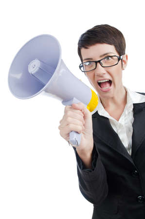 Young business lady screaming to loudspeaker photo