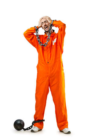 Convict with handcuffs on white Stock Photo - 13630576
