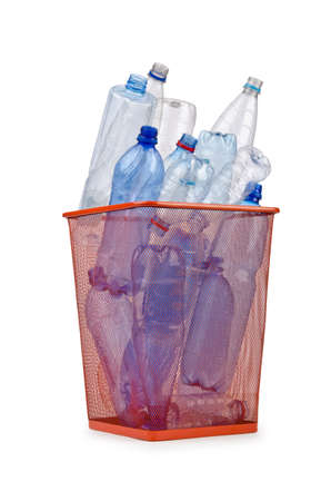 Plastic bottles in recycling concept photo