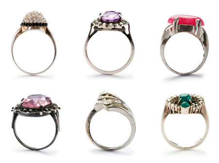 Set of jewellery rings on white photo
