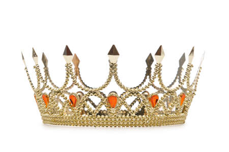 Gold crown isolated on the white Imagens