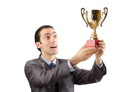 Man being awarded with golden cup Stock Photo - 13576274