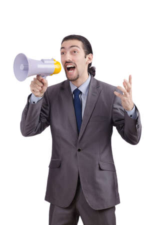 Man shouting and yelling with loudspeaker Stock Photo - 13576344