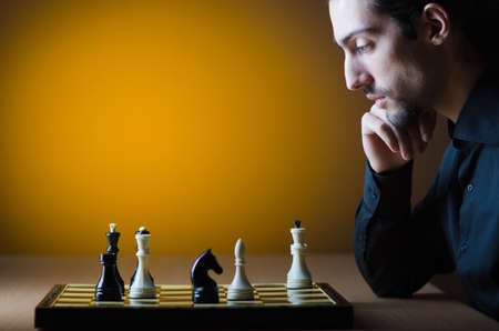 Chess player playing his game Stock Photo - 13576318