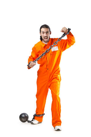 Convicted criminal on white background Stock Photo - 13576236