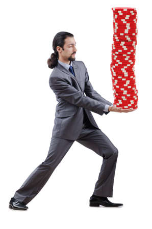Businessman and casino chips on white Stock Photo - 13576243