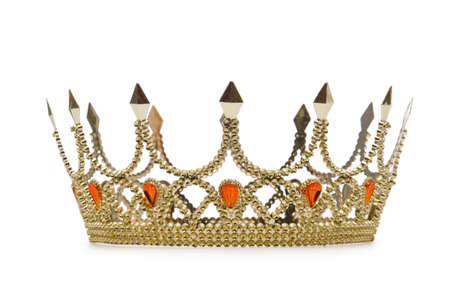 Gold crown isolated on the white Stock Photo