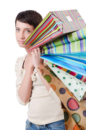 Girl after the shopping spree Stock Photo - 13644017