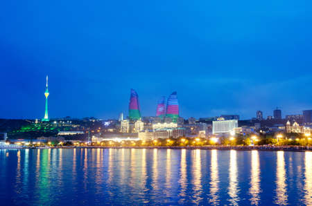 azerbaijan: Baku Azerbaijan at Caspian sea-  night photo Stock Photo
