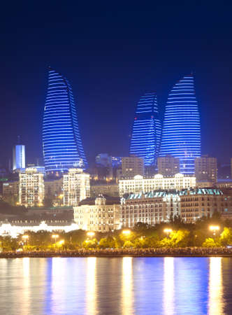 azerbaijan: Baku Azerbaijan at Caspian sea-  night photo Editorial