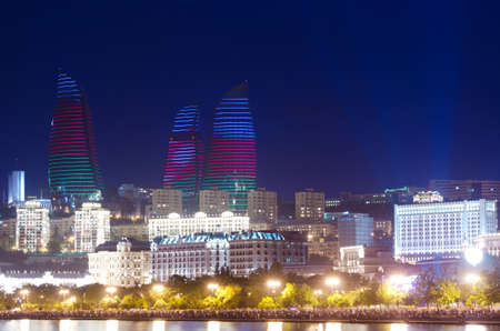 baku: Baku Azerbaijan at Caspian sea-  night photo Stock Photo