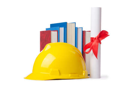 Construction industry education concept on white Stock Photo - 13867507