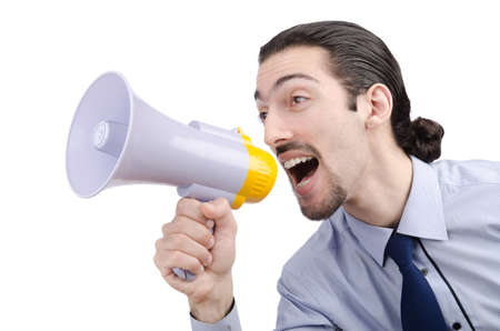 Man shouting and yelling with loudspeaker Stock Photo - 13875393