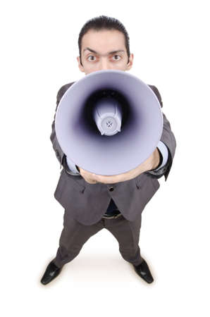 Man shouting and yelling with loudspeaker Stock Photo - 13867610
