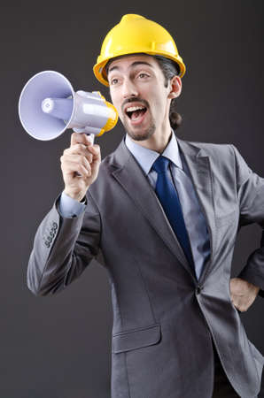 Man shouting and yelling with loudspeaker Stock Photo - 13868112