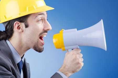Man with loudspeaker photo