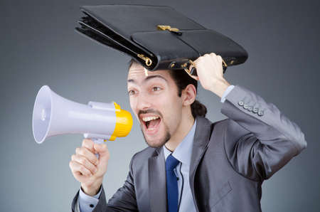 Businessman shouting via loudspeaker Stock Photo - 13868043