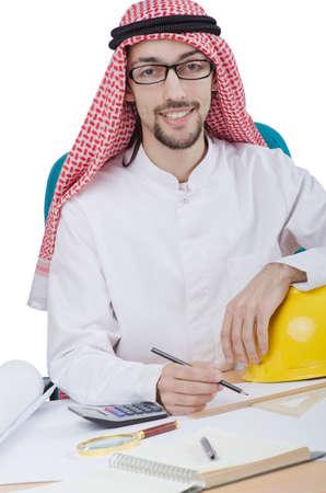 Young arab architect isolated on white photo