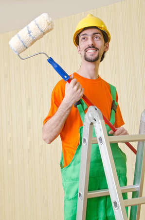 Painter worker during painting job Stock Photo - 13867940