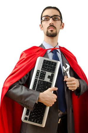 Superman isolated on the white background photo
