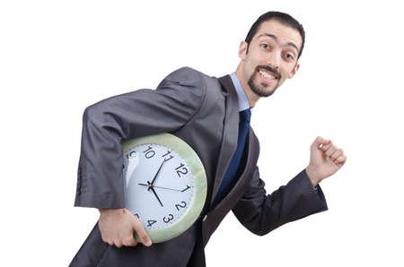 punctual: El hombre con el reloj aislados en blanco Foto de archivo