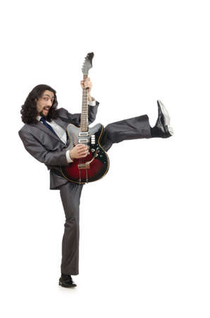 Guitar player in business suit on white photo