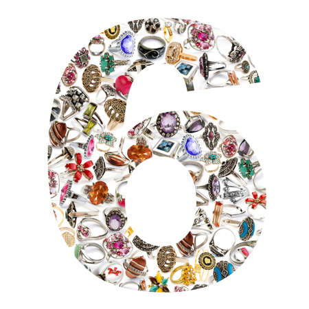 Number made of jewellery rings on white Stock Photo - 14058552