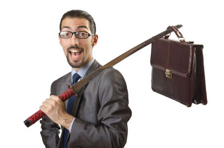Businessman with sword on white Stock Photo - 14385643