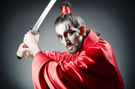 traditional weapon: Japanese actor with sword