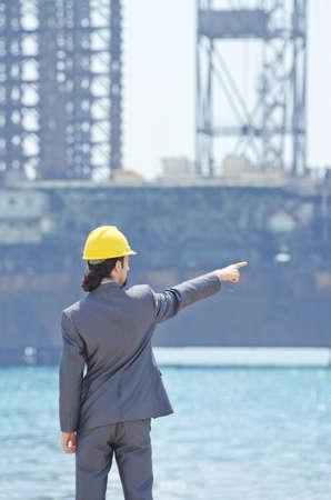 Oil engineer on sea side beach Stock Photo - 14043408