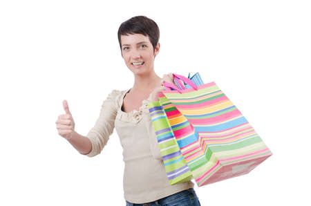 Girl after the shopping spree Stock Photo