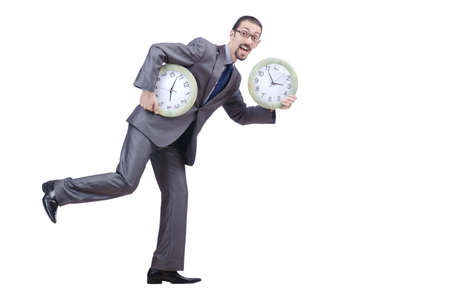 Man with clock isolated on white photo