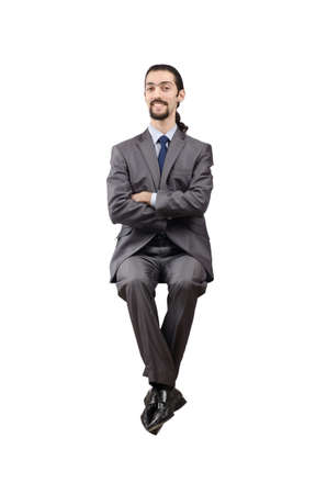 business obstacle: Businessman isolated on the white background