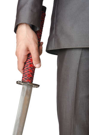 Businessman with sword on white Stock Photo - 14049959
