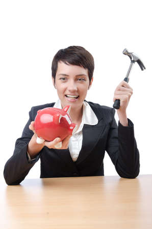 Woman and piggybank on white Stock Photo - 14336198