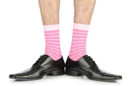 hombre desnudo: La mitad de negocios desnudo en blanco