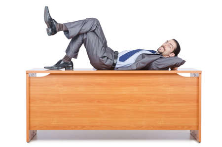Businessman sleeping at this desk Stock Photo - 14385642