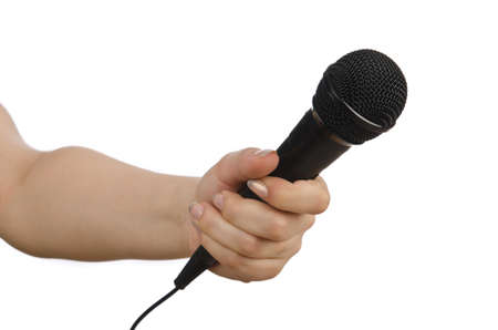 Hand with microphone on white Stock Photo - 14274340