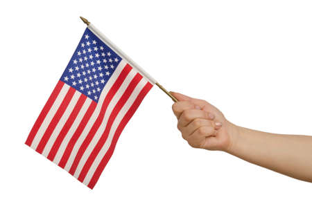 Hand holding american flag on white photo