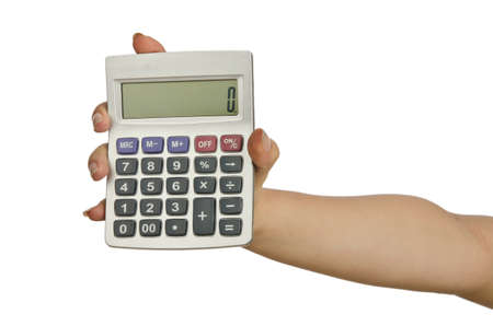 Hand holding calculator on white Stock Photo - 14274444
