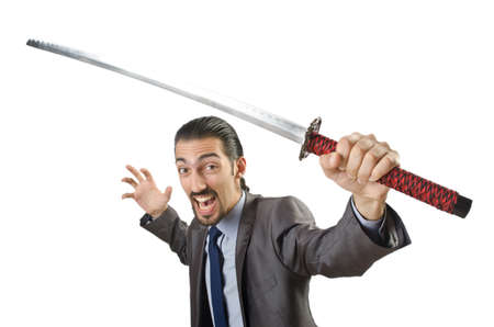 Businessman with sword on white Stock Photo - 14385173