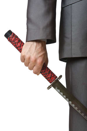 Businessman with sword on white Stock Photo - 14275899