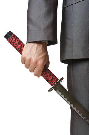 katana: Zakenman met zwaard op witte