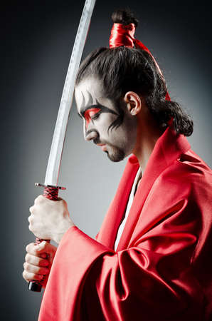 Japanese actor with sword Stock Photo - 14385500