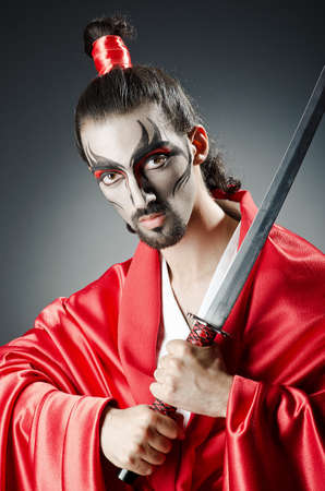 Japanese actor with sword Stock Photo - 14385541