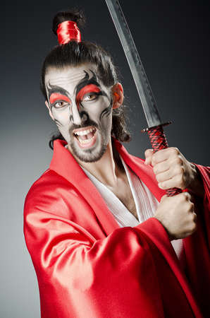 Japanese actor with sword Stock Photo - 14385535